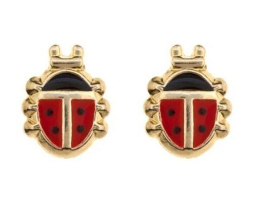 Kids Girls Ladies 9ct Gold Andralok Enamelled Ladybird Studs Earrings B/'Day GIFT