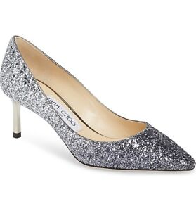 a80e1708099 NIB NEW Jimmy Choo Romy 60 pumps navy   silver glitter 38 7.5 8 39.5 ...