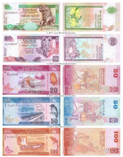 20 Sri Lanka 10 50 20 100 Rupees 2004-2015 Set of 5 Banknotes 5 PCS UNC