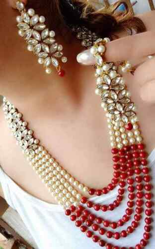 WHITE RED BEADS /& PEARL INDIAN NECKLACE SET RANI HAAR BOLLYWOOD WEDDING JEWELRY