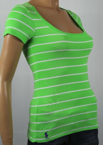 Ralph Lauren Green White Stripe Short Sleeve Knit Top Scoop Neck NWT