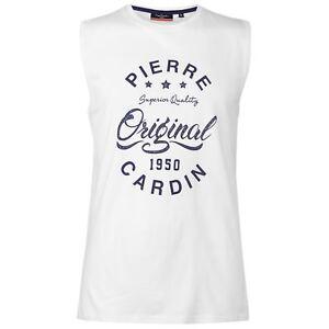 30b39eeb Pierre Cardin Mens Logo Sleeveless T Shirt Tee Top Round Neck ...