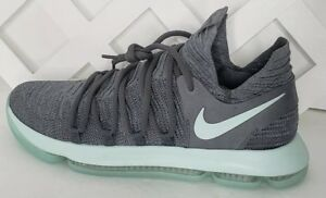 b1e58b4ec9f7 Nike Zoom KD 10 X Basketball Shoes Cool Grey Igloo White Mint 897815 ...