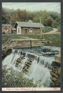 Phillipsport-Mamakating-NY-c-1907-10-Postcard-N-Y-O-amp-W-Railroad-DEPOT-amp-LAKE