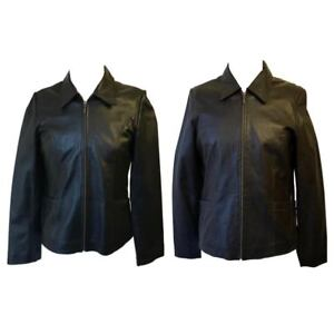 Woodland-Leathers-Ladies-Real-Genuine-Soft-Leather-Jacket-ZipUp-Biker-Coat-16-18