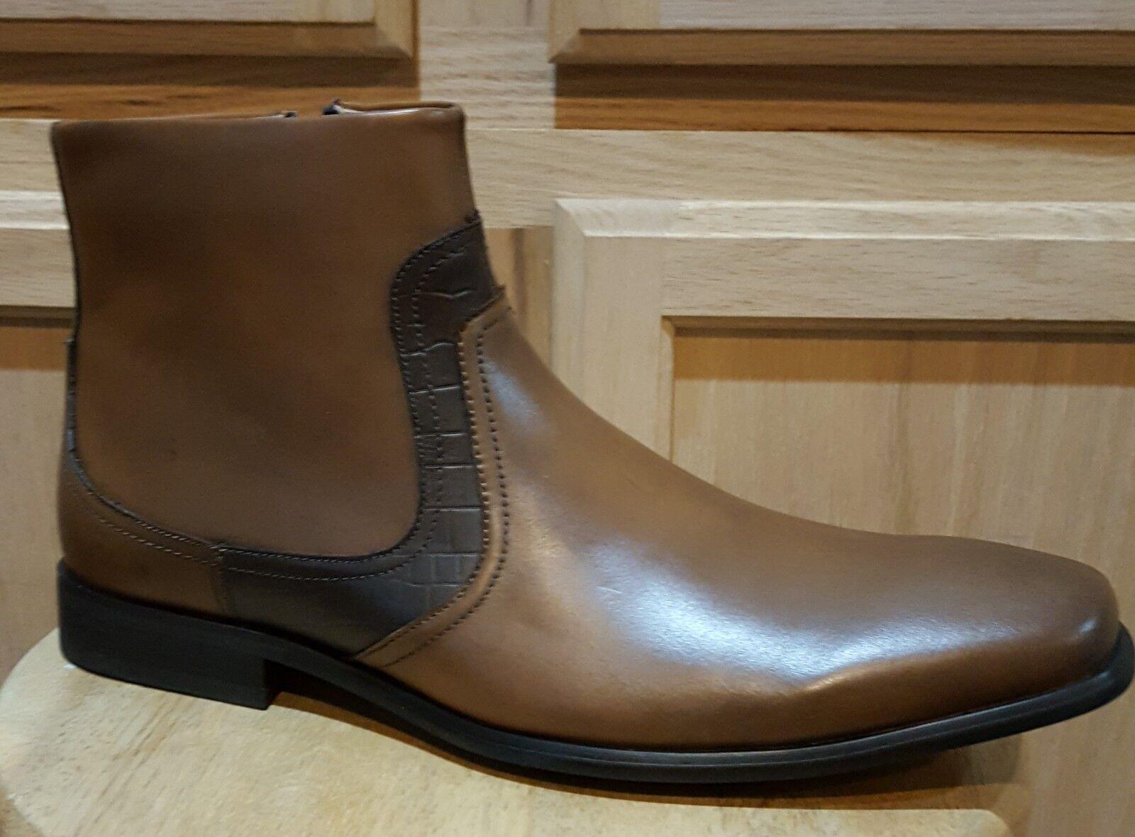 Cam Newton MADE Garner Tan Leather w Python Print Dress Boot - MSRP  160