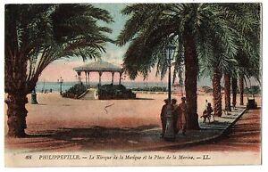 CPA-ALGERIE-PHILIPPEVILLE-88-Kiosque-de-la-Musique-et-la-Place-de-la-Marine