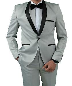 Slim-Fit-Herren-Smoking-in-Grau-Satin-Herrenanzug-Anzug-Hochzeit-Buehne-Sakko