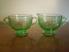 Antique Depression Glass Green Art Deco Creamer Sugar Bowl