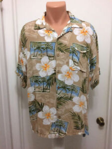 Caribbean-Joe-Island-Herren-L-Large-Tropical-Rayon-Hawaiian-Camp-Aloha-Shirt