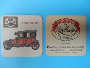 1  oud bierviltje  SUPRA RENAULT 1907 R/V = VAN MAELE BRUGGE            //
