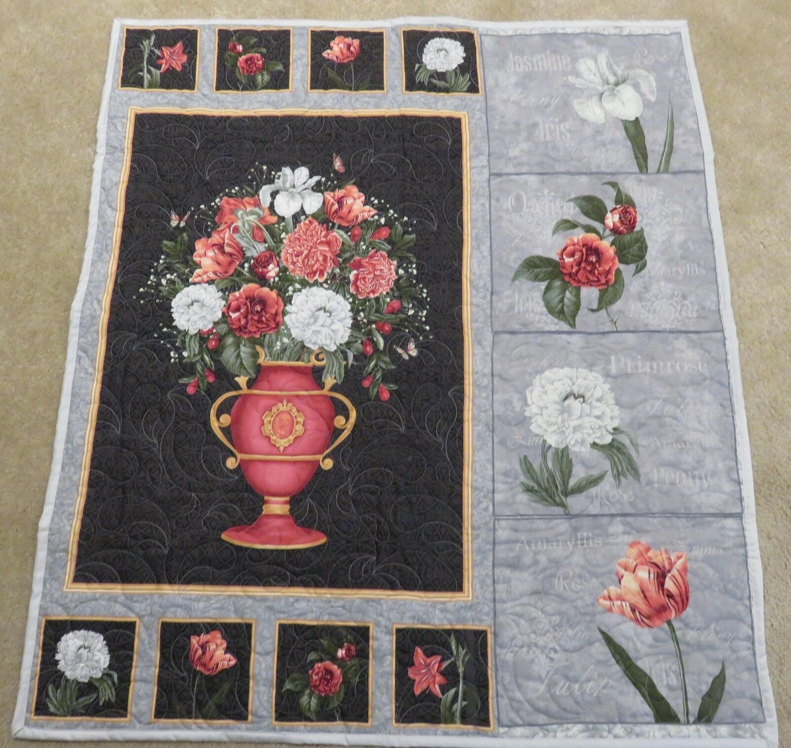 New USA Handmade Quilted Wallhanging- Floral Vase Botanical Prints 36 x 42