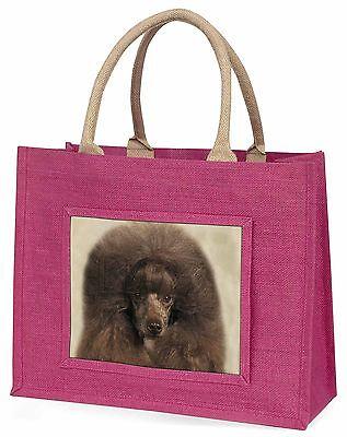 schokobrauner Pudel Hund große rosa Einkaufstasche Weihnachten Geschenkidee,