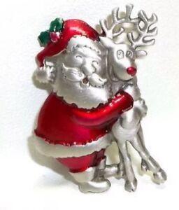 ... SANTA CLAUS HUGGING RUDOLPH THE RED NOSE REINDEER PEWTER BROOCH   eBay