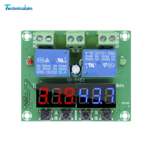 Dual Output Thermostat Temperature Humidity Hygrometer Controller DC 12V XH M452