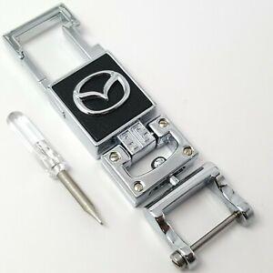 Mazda-car-chrome-metal-keyring-key-safe-fob-case-cover-badge-holder-chain-tags