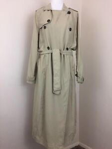 Abercrombie-and-Fitch-Trench-Coat-Size-Medium-Khaki-Double-Breasted-Belted-Long