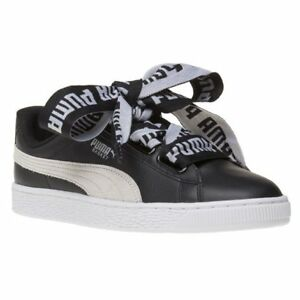 Leather Basket De Up Heart Court Trainers Puma New Lace Womens Black aw1qnUY