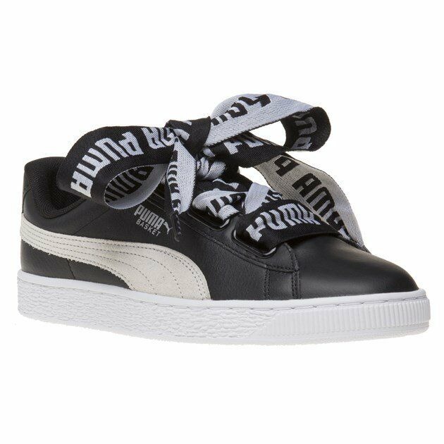 9b989e617613 PUMA Basket Heart De Wns Low Black White Leather Women Shoes SNEAKERS  36408201 UK 5 for sale online