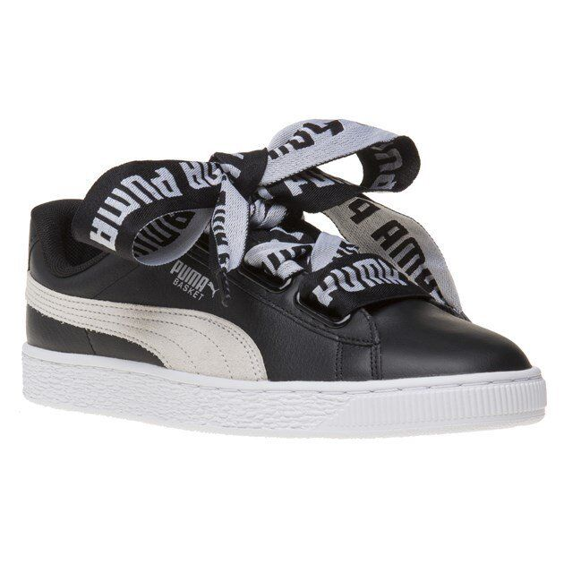 a9ce9fa6f5d8 PUMA Basket Heart De Wns Low Black White Leather Women Shoes SNEAKERS  36408201 UK 5 for sale online