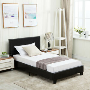 3bb77d71df2e Image is loading Queen-Size-Platform-Bed-Frame-Faux-Leather-With-
