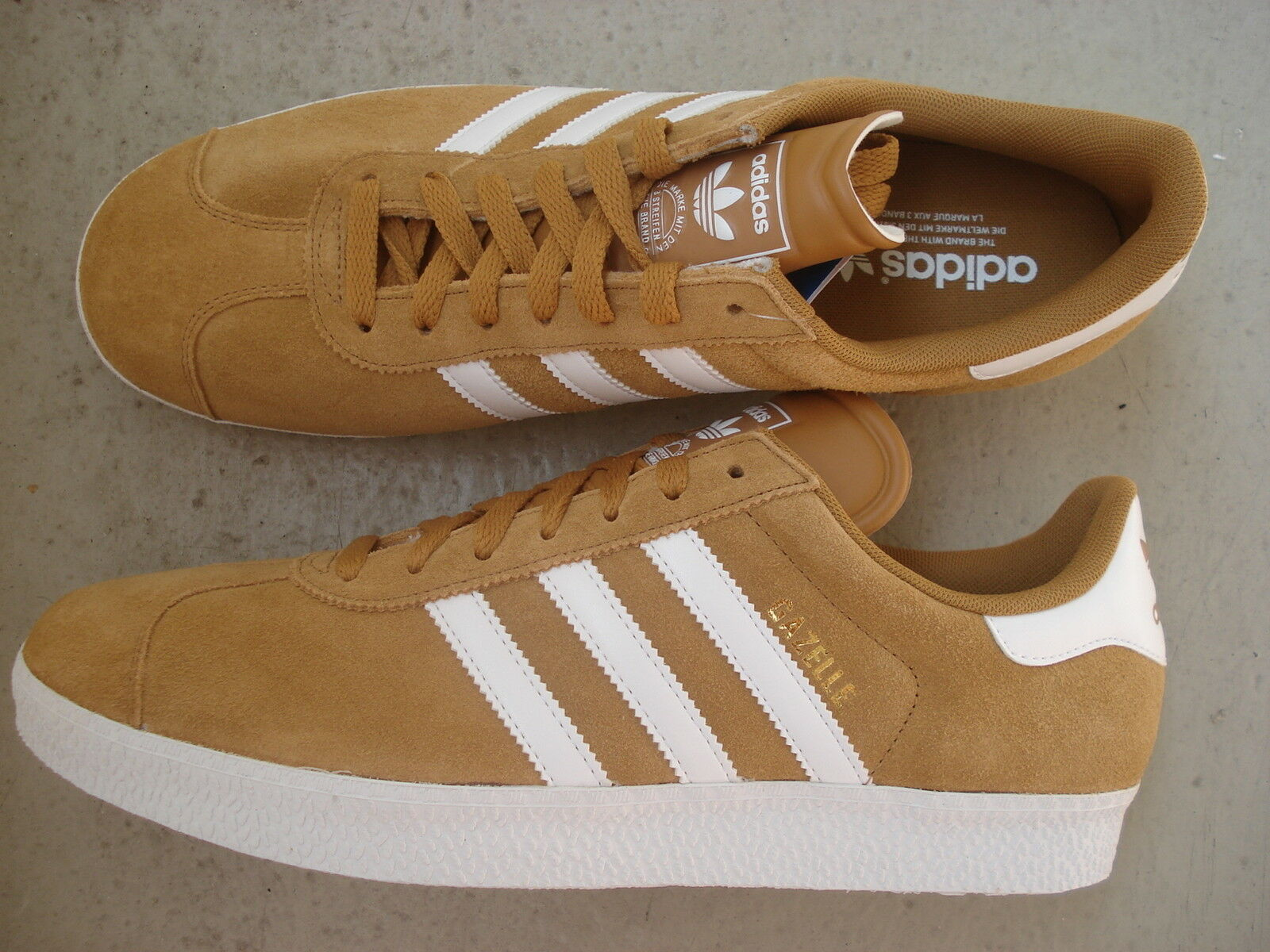 Adidas Gazelle II 45 1/3 Originals Wheat/Runwht/Melgol