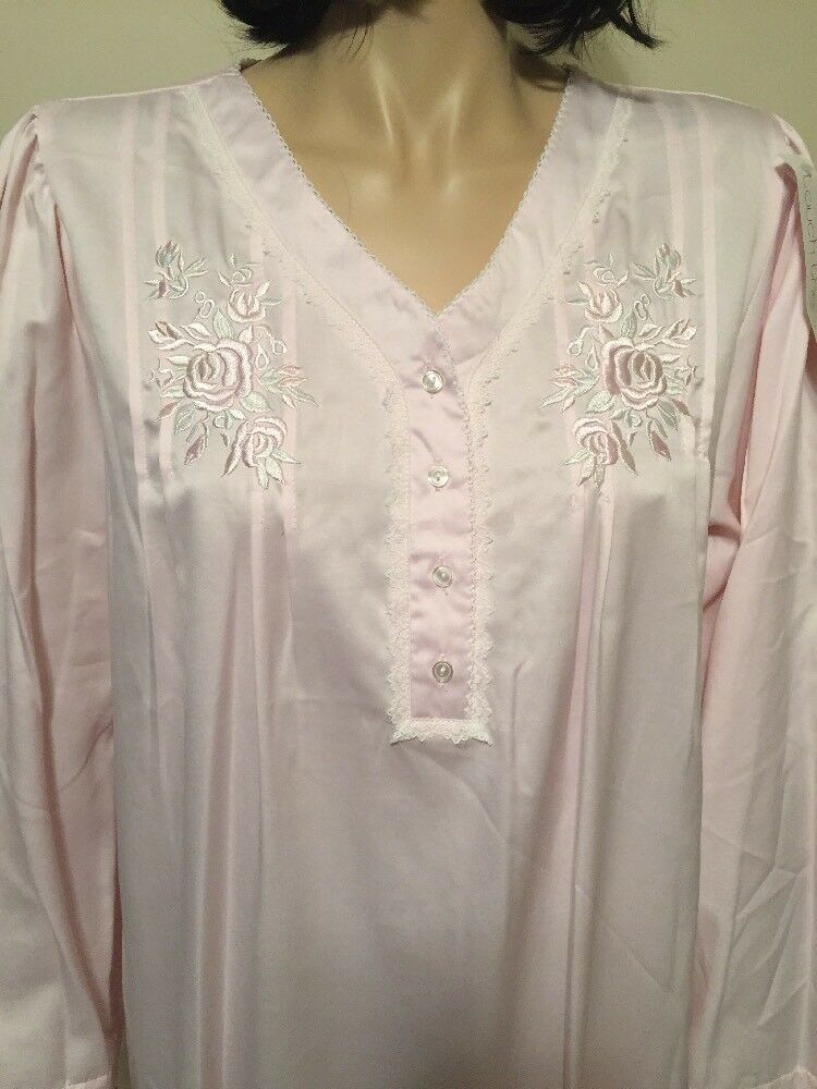 Miss Elaine Pink Nightgown Long Sleeves Embroidery Size XL NWT