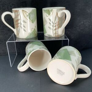 """4 Corelle Textured Leaves Mugs, Retired 4"""" x 3"""" Green Tan Gray Floral By Corning"""