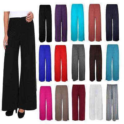 Shock-Resistant And Antimagnetic Women's Clothing New Ladies Plus Size Plain Palazzo Trousers Womens Flared Wide Leg Pants 8-26 Waterproof