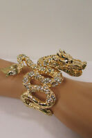 Women Flying Dragons Cuff Bracelet Fashion Jewelry Rhinestone Gold / Silver