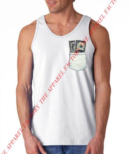 New Men/'s FAKE MONEY POCKET White Tank Top shirt funny humor dollar bill