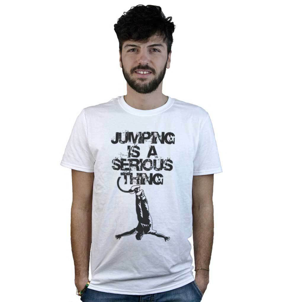 T-shirt Bungee Jumping, e maglietta bianca con disegno e Jumping, frase divertente inglese ba3c11