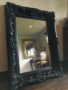 ec40ce95b Details about Large Vintage Black Ornate French Leaner Overmantle Dress  Floor Wall Mirror