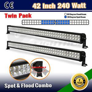 2PCS-240W-42-INCH-LED-FLOOD-SPOT-OFFROAD-DRIVING-WORK-LIGHT-BAR-BOAT-OZ-180W