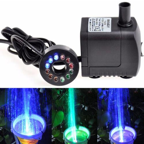 8W LED Light 600L//H Submersible Water Pump Aquarium KOI Fish Pond Fountain  AE