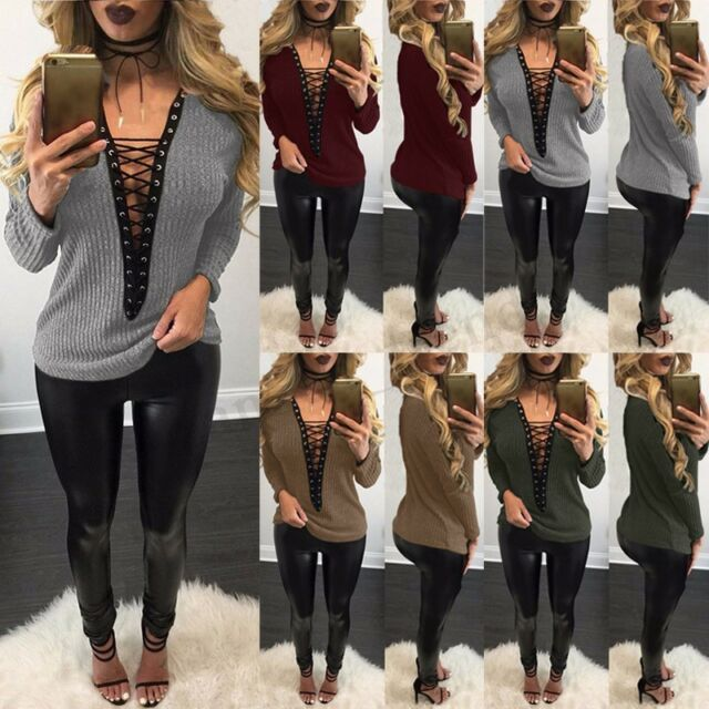 Plus Size 6-20 Women Choker V Neck Casual Tops T-Shirt Blouse Lace-up Plunge Tee