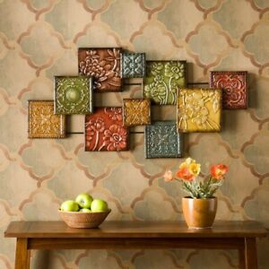 Details About 3 D Metal Wall Art Sculpture Textured Square Earth Tone Panels Hand Painted
