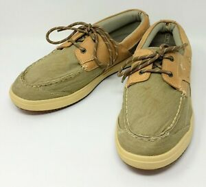 Margaritaville-Boat-Shoes-Leather-Canvas-Men-039-s-15-M-Clean-Tan-Biege-Casual-Comfy
