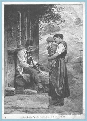 """WohltäTig Sense Schärfen-dengeln """"guten Morgen,pepi!"""" Original Holzstich Erschienen 1896 GroßEs Sortiment Antiquitäten & Kunst"""