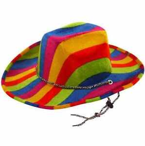 d4265e1b2 Details about 1-3-6 party hats Cowboy Rainbow Adult Western Gay Pride Party  Theme Unisex