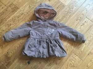 5f814d8c3 Details about Girls coat size 2-3 years hooded pockets floral brown pink  MATALAN