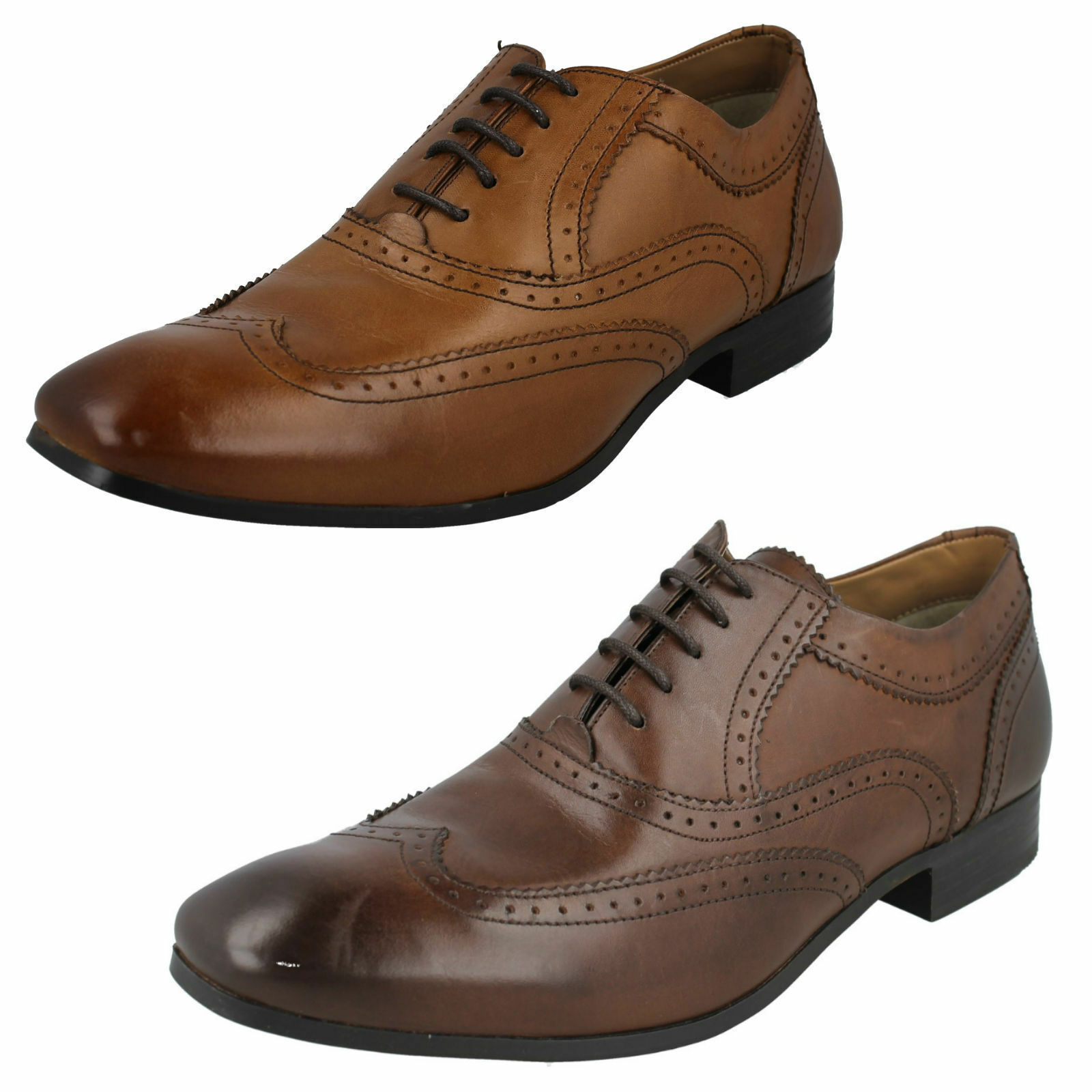 Mens Waxy Tan/Waxy Brown  Leather Lace Up Leather Formal Shoes Court MTO