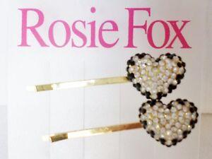 Rosie-FOX-NERO-ROSSO-amp-CUORE-BRILLANTINI-FERMACAPELLI-x-2-elegante-GIOIELLERIA