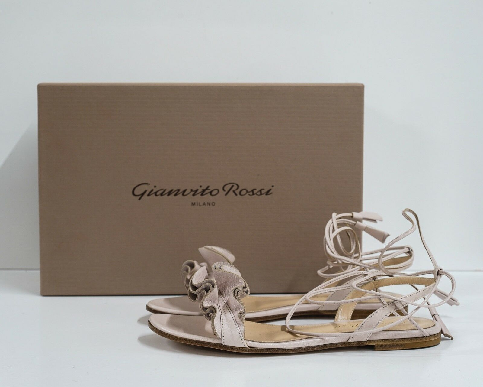 New in Box Gianvito Rossi Women's pink Flat Leather Sandal Sandal Sandal Size 35 ae867e