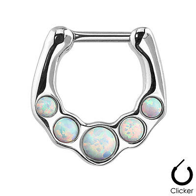 Five OPAL Gems Stainless SEPTUM RINGS Nose Clicker Studs Body Piercing Jewelry