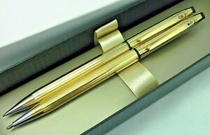 Anson Set Executive Essentials Gold Tone Ballpoint Pen+0.9m Pencil+Box USA