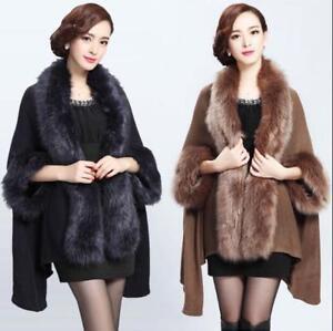 di Scialle Womens Cashmere Asimmetrico Allentato Pelliccia Warmhai12 Poncho Cape Jacket Coat BwETO8qw