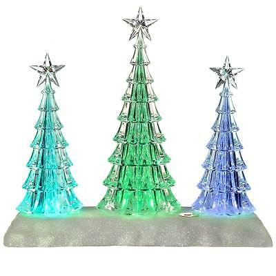 26cm Pre-Lit Colour Changing LED Musical Acrylic Christmas Tree Scene Decoration