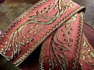 Vintage-Antique-Cotton-Silk-1-5-034-Coral-amp-Gold-1yd-France
