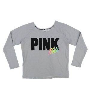dfd6b63f48d0 Details about Victoria s Secret Pink Sweatshirt Pullover Long Sleeve Off  Shoulder Graphic New